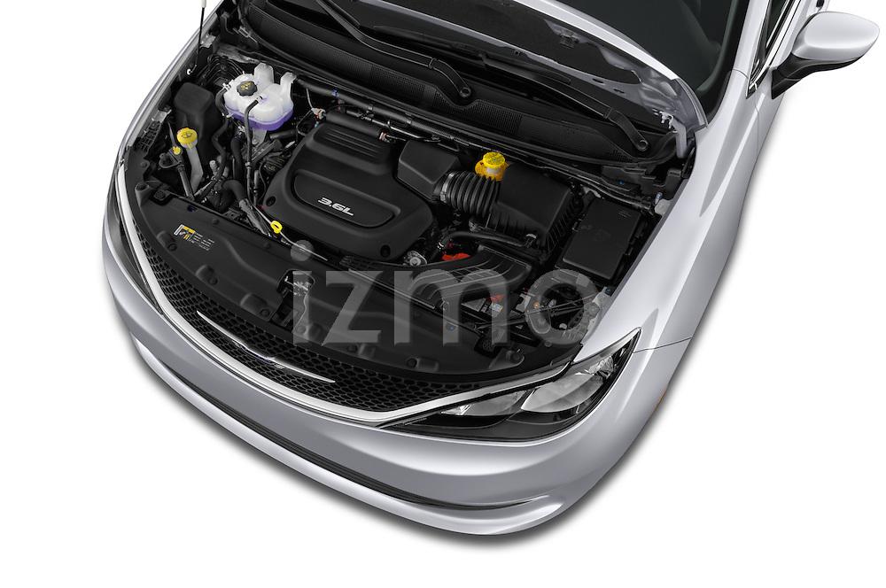 Car Stock 2017 Chrysler Pacifica LX 5 Door Minivan Engine  high angle detail view