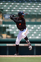 GCL Orioles Carlos Baez (13) bats during a Gulf Coast League game against the GCL Red Sox on July 29, 2019 at Ed Smith Stadium in Sarasota, Florida.  GCL Red Sox defeated the GCL Pirates 9-1.  (Mike Janes/Four Seam Images)