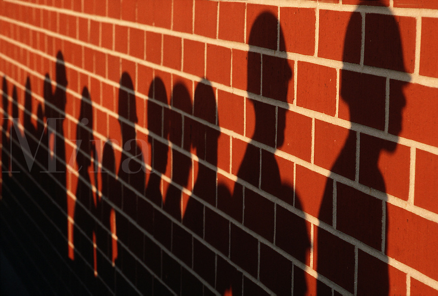 Abstract graphic image of shadows cast on a brick wall.