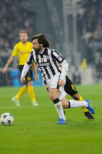 24.02.2015.  Turin, Italy. Champions League Football. Juventus versus Borussia Dortmund. Andrea Pirlo of Juventus in action