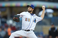 Durham Bulls starting pitcher Ryan Merritt (55) in action against the Gwinnett Braves at Durham Bulls Athletic Park on April 20, 2019 in Durham, North Carolina. The Bulls defeated the Braves 11-3 in game one of a double-header. (Brian Westerholt/Four Seam Images)