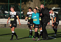 Aalst players walk onto the pitch during a female soccer game between Oud Heverlee Leuven and Eendracht Aalst Ladies  on the third matchday of the 2020 - 2021 season of Belgian Womens Super League , Sunday 4 th of October 2020  in Heverlee , Belgium . PHOTO SPORTPIX.BE | SPP | SEVIL OKTEM