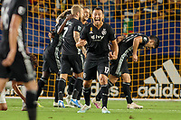 CARSON, CA - SEPTEMBER 15: Roger Espinoza #17 of Sporting Kansas City celebrate a goal during a game between Sporting Kansas City and Los Angeles Galaxy at Dignity Health Sports Complex on September 15, 2019 in Carson, California.