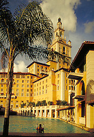 The Biltmore Hotel seen from its very sizable pool. resorts, ornate architecture, vacations. Coral Gables Florida.