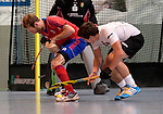 GER - Mannheim, Germany, November 28: During the 1. Bundesliga Sued Herren indoor hockey match between Mannheimer HC (red) and TG Frankenthal (white) on November 28, 2015 at Irma-Roechling-Halle in Mannheim, Germany. Final score 7-7 (HT 3-3). (Photo by Dirk Markgraf / www.265-images.com) *** Local caption *** Fabian Pehlke #23 of Mannheimer HC