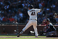 SAN FRANCISCO, CA - SEPTEMBER 19:  Wilmer Flores #41 of the San Francisco Giants bats against the Atlanta Braves during the game at Oracle Park on Sunday, September 19, 2021 in San Francisco, California. (Photo by Brad Mangin)
