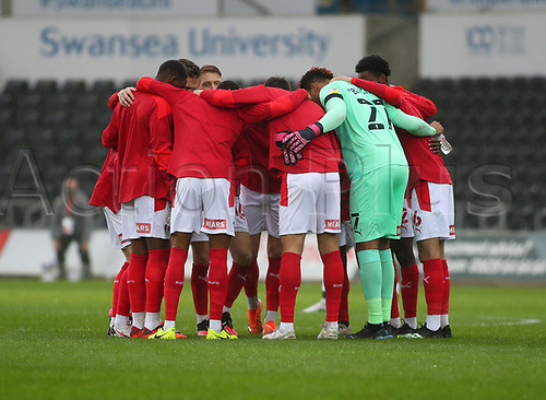 21st November 2020; Liberty Stadium, Swansea, Glamorgan, Wales; English Football League Championship Football, Swansea City versus Rotherham United; Rotherham United players huddle before kick off