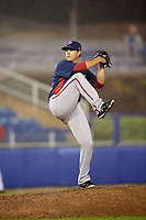 Potomac Nationals starting pitcher Ben Braymer (40) delivers a pitch during the second game of a doubleheader against the Salem Red Sox on June 11, 2018 at Haley Toyota Field in Salem, Virginia.  Potomac defeated Salem 4-0.  (Mike Janes/Four Seam Images)