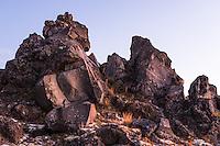Volcanic rocks under Mount Ruapehu at dusk, Tongariro National Park, Central Plateau, Ruapehu Region, North Island, UNESCO World Heritage Area, New Zealand, NZ