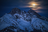 Full moon over Sangre de Cristo mountains