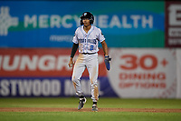 Hudson Valley Renegades Greg Jones (2) leads off second base during a NY-Penn League game against the Mahoning Valley Scrappers on July 15, 2019 at Eastwood Field in Niles, Ohio.  Mahoning Valley defeated Hudson Valley 6-5.  (Mike Janes/Four Seam Images)