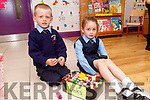 Twins Holly and Liam O'Driscoll enjoying their first day at Killury NS in Causeway on Thursday.