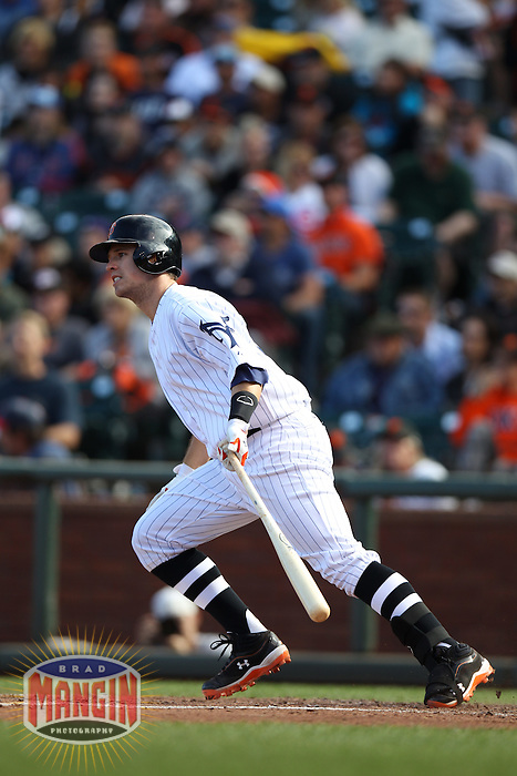 SAN FRANCISCO, CA - JUNE 2:  Buster Posey #28 of the San Francisco Giants bats against the Chicago Cubs during the game at AT&T Park on Saturday, June 2, 2012 in San Francisco, California. Photo by Brad Mangin
