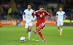 UEFA European Championship at Cardiff City Stadium - Wales v Cyprus : <br /> Hal Robson-Kanu of Wales has a shot at the Cyprus goal.