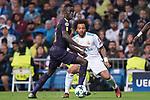 Davinson Sanchez of Tottenham Hotspur FC (L) fights for the ball with Marcelo Vieira Da Silva of Real Madrid (R) during the UEFA Champions League 2017-18 match between Real Madrid and Tottenham Hotspur FC at Estadio Santiago Bernabeu on 17 October 2017 in Madrid, Spain. Photo by Diego Gonzalez / Power Sport Images