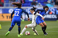 Harrison, NJ - Saturday, March 04, 2017: Sara Doorsoun, Sakina Karchaoui during a SheBelieves Cup match between the women's national teams of France (FRA) and Germany (GER) at Red Bull Arena.