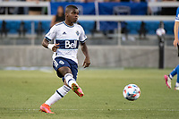 SAN JOSE, CA - AUGUST 13: Deiber Caicedo #7 of the Vancouver Whitecaps passes the ball during a game between San Jose Earthquakes and Vancouver Whitecaps at PayPal Park on August 13, 2021 in San Jose, California.