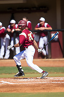 Anthony Paulsen (20) of the Winthrop Eagles follows through on his swing against the Kennesaw State Owls at the Winthrop Ballpark on March 15, 2015 in Rock Hill, South Carolina.  The Eagles defeated the Owls 11-4.  (Brian Westerholt/Four Seam Images)