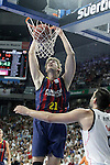 Real Madrid's Felipe Reyes (r) and FC Barcelona's Tibor Pleiss during Liga Endesa ACB 2nd Final Match.June 21,2015. (ALTERPHOTOS/Acero)