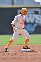 Tennessee Volunteers third baseman Nick Senzel (13) celebrates after doubling during game one of a double header against the UC Irvine Anteaters at Lindsey Nelson Stadium on March 12, 2016 in Knoxville, Tennessee. The Volunteers defeated the Anteaters 14-4. (Tony Farlow/Four Seam Images)