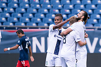 FOXBOROUGH, MA - JULY 4: Marios Lomis #9 of Greenville Triumph SC celebrates his hat trick during a game between Greenville Triumph SC and New England Revolution II at Gillette Stadium on July 4, 2021 in Foxborough, Massachusetts.