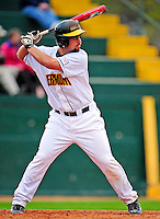 30 April 2009: University of Vermont Catamounts' catcher Jeff Nolet, a Senior from Concord, MA, at bat as a designated hitter against the Siena College Saints at Historic Centennial Field in Burlington, Vermont. The Saints outscored the Catamounts 11-10 in the afternoon matchup. The Catamounts are playing their last season of baseball, as the program has been marked for elimination due to budgetary constraints at the University. Mandatory Photo Credit: Ed Wolfstein Photo