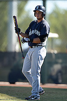 Seattle Mariners first baseman Yordi Calderon (29) during an instructional league game against the Kansas City Royals on October 2, 2013 at Surprise Stadium Training Complex in Surprise, Arizona.  (Mike Janes/Four Seam Images)