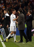 Pictured: Ben Davies (L) and Michael Laudrup (R). Sunday 24 February 2013<br /> Re: Capital One Cup football final, Swansea v Bradford at the Wembley Stadium in London.