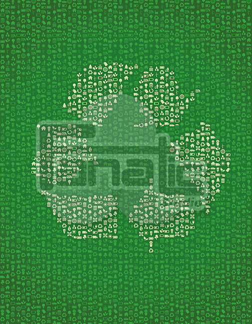 Illustration of recycle sign on green background