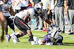 Texas Tech Red Raiders running back Da'Leon Ward (32) in action during the game between the Texas Tech Red Raiders and the TCU Horned Frogs at the Amon G. Carter Stadium in Fort Worth, Texas.