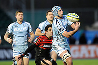20130127 Copyright onEdition 2013©.Free for editorial use image, please credit: onEdition..Michael Paterson of Cardiff Blues fumbles the ball during the LV= Cup match between Saracens and Cardiff Blues at Allianz Park on Sunday 27th January 2013 (Photo by Rob Munro)..For press contacts contact: Sam Feasey at brandRapport on M: +44 (0)7717 757114 E: SFeasey@brand-rapport.com..If you require a higher resolution image or you have any other onEdition photographic enquiries, please contact onEdition on 0845 900 2 900 or email info@onEdition.com.This image is copyright onEdition 2013©..This image has been supplied by onEdition and must be credited onEdition. The author is asserting his full Moral rights in relation to the publication of this image. Rights for onward transmission of any image or file is not granted or implied. Changing or deleting Copyright information is illegal as specified in the Copyright, Design and Patents Act 1988. If you are in any way unsure of your right to publish this image please contact onEdition on 0845 900 2 900 or email info@onEdition.com
