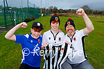 Chorley FC supporters l-r: Adam, Josh and Sean Vermiglio celebrate their famous win over Wayne Rooney's Derby  in the FA cup last weekend