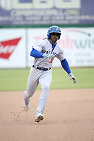 Lazaro Armenteros (13) of the Stockton Ports runs the bases during a game against against the Inland Empire 66ers at San Manuel Stadium on May 26, 2019 in San Bernardino, California. (Larry Goren/Four Seam Images)