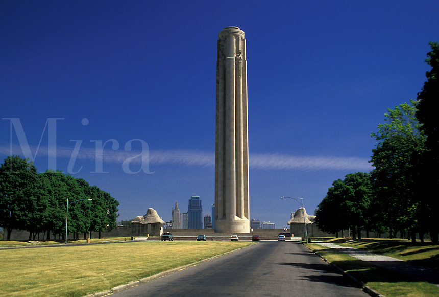 "AJ1779, Kansas City, Missouri, Liberty Memorial in Penn Valley Park, 217 foot """"Torch of Liberty"""" observation tower."