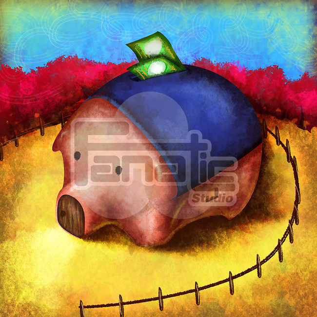 Illustrative image of piggy bank with surrounding fence representing security