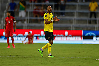 July 16th 2021; Orlando, Florida, USA; Jamaica defender Liam Moore celebrates following the Concacaf Gold Cup match between Guadeloupe and Jamaica on July 16, 2021 at Exploria Stadium in Orlando, Fl.