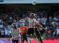 Sheffield United's George Baldock vies for possession with Swansea City's Martin Olsson during the Sky Bet Championship match between Sheffield United and Swansea City at Bramall Lane, Sheffield, England, UK. Saturday 04 August 2018