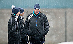 St Johnstone Training…22.01.19   McDiarmid Park<br />Manager Tommy Wright talks with Alec Cleland andPhysio Mel Stewart during a snowy training session this morning ahead of tomorrow night's game against Livingston.<br />Picture by Graeme Hart.<br />Copyright Perthshire Picture Agency<br />Tel: 01738 623350  Mobile: 07990 594431