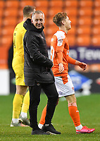 A smile from Blackpool's Manager Neil Critchley<br /> <br /> Photographer Dave Howarth/CameraSport<br /> <br /> The EFL Sky Bet League One - Blackpool v Wigan Athletic - Tuesday 3rd November 2020 - Bloomfield Road - Blackpool<br /> <br /> World Copyright © 2020 CameraSport. All rights reserved. 43 Linden Ave. Countesthorpe. Leicester. England. LE8 5PG - Tel: +44 (0) 116 277 4147 - admin@camerasport.com - www.camerasport.com