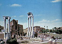 Remains of the Temple of Castor and Pollux, Roman Forum, Rome, Italy