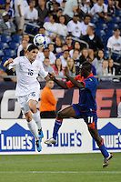 Jay Heaps (16) of the United States (USA) heads the ball. The United States and Haiti played to a 2-2 tie during a CONCACAF Gold Cup Group B group stage match at Gillette Stadium in Foxborough, MA, on July 11, 2009. .