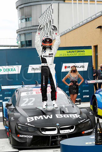 23rd August 2020, Lausitz Circuit, Klettwitz, Brandenburg, Germany. The Deutsche Tourenwagen Masters (DTM) race at Lausitz;  Lucas Auer AUT, Team RMG, BMW M4 DTM with his trophies