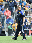 A tense Donal Moloney, Clare joint manager walks the sideline during their Munster championship game against Limerick in Ennis. Photograph by John Kelly.