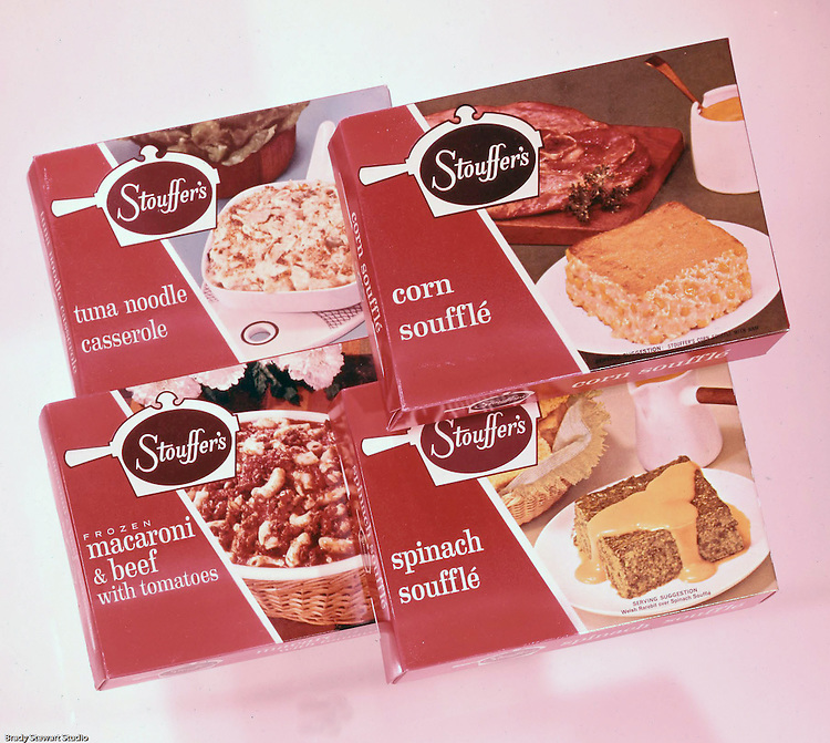 Client: Stouffer's Foods<br /> Ad Agency: Ketchum Macleod & Grove<br /> Contact: Al Vazquez<br /> Product: Stouffer's Frozen Foods<br /> Location: Brady Stewart Studio, 211 Empire Building on Liberty Avenue in Pittsburgh<br /> <br /> The family's frozen food business began in the 1940s when customers started asking for frozen versions of the meals served in the restaurants. The Stouffers sold their company to Litton Industries in 1967, who in turn sold it to Nestlé in 1973. Nestle Foods has created a campus-like area at the headquarters in Solon, Ohio.