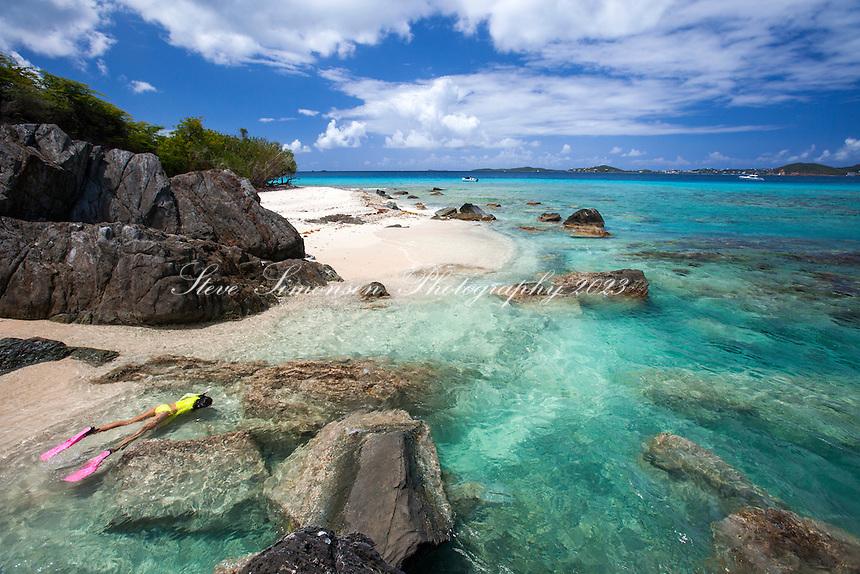 Natalie Klein snorkeling at Mingo Cay<br /> U.S. Virgin Islands