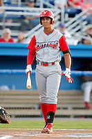 Williamsport Crosscutters third baseman Harold Martinez #6 during the second game of a doubleheader against the Batavia Muckdogs at Dwyer Stadium on August 23, 2011 in Batavia, New York.  Batavia defeated Williamsport 2-1.  (Mike Janes/Four Seam Images)