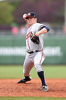 Mississippi Braves pitcher John Cornely (27) delivers a pitch during a game against the Montgomery Biscuits on April 22, 2014 at Riverwalk Stadium in Montgomery, Alabama.  Mississippi defeated Montgomery 6-2.  (Mike Janes/Four Seam Images)