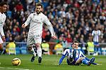 Real Madrid´s Nacho Fernandez and Raphael Varane and Deportivo de la Courna´s Lucas during La Liga match at Santiago Bernabeu stadium in Madrid, Spain. February 14, 2015. (ALTERPHOTOS/Victor Blanco)