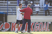 Carlos Bocanegra and Bob Bradley shake hands. The USA defeated China, 4-1, in an international friendly at Spartan Stadium, San Jose, CA on June 2, 2007.