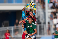 Bradenton, FL - Sunday, June 12, 2018: Reyna Reyes, Talia DellaPeruta, Jaidy Guiterrez during a U-17 Women's Championship Finals match between USA and Mexico at IMG Academy.  USA defeated Mexico 3-2 to win the championship.